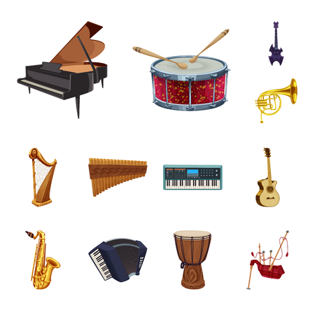 Isolated object of music and tune icon. Set of music and tool stock vector illustration.