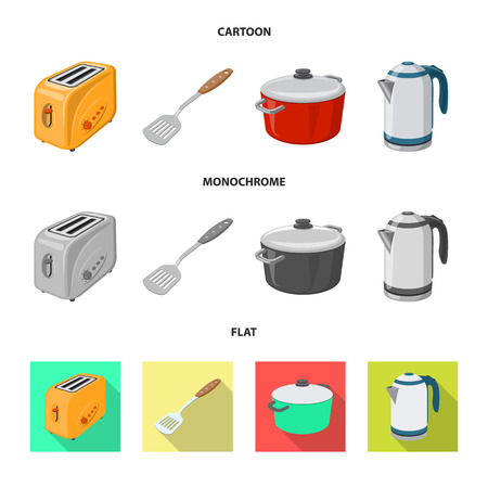 Isolated object of kitchen and cook logo. Collection of kitchen and appliance stock vector illustration.