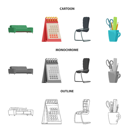 Vector illustration of furniture and work symbol. Set of furniture and home stock vector illustration. Vectores