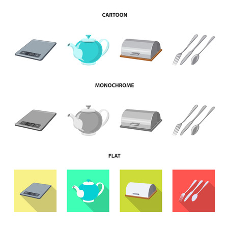 Isolated object of kitchen and cook icon. Collection of kitchen and appliance vector icon for stock.