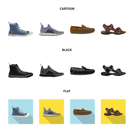 Vector illustration of man and foot sign. Set of man and wear stock symbol for web. Vektorgrafik