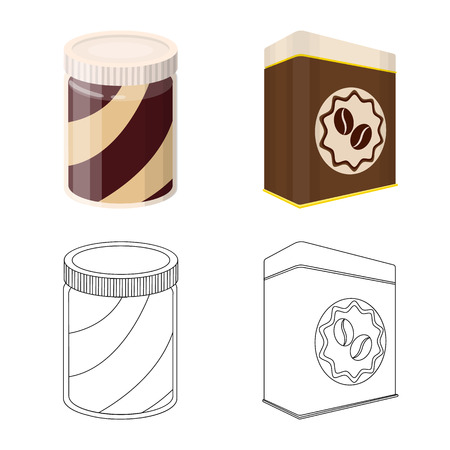 Vector illustration of can and food logo. Collection of can and package vector icon for stock.