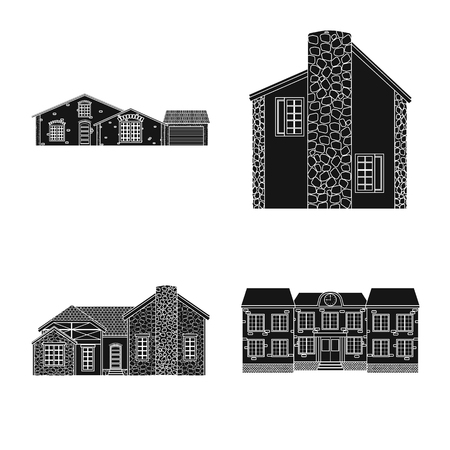 Vector illustration of building and front sign. Collection of building and roof stock vector illustration. Ilustração