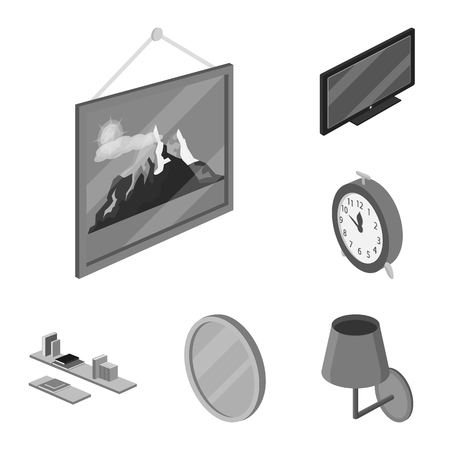Isolated object of bedroom and room sign. Collection of bedroom and furniture vector icon for stock. Illustration
