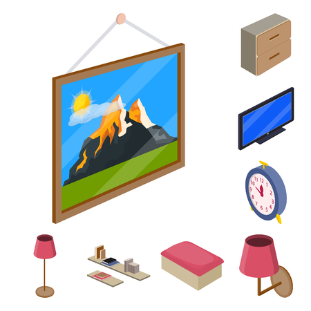 Isolated object of bedroom and room symbol. Set of bedroom and furniture stock vector illustration. Illusztráció