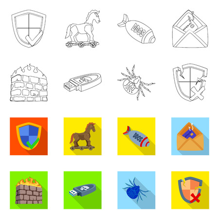 Vector design of virus and secure icon. Set of virus and cyber stock vector illustration.