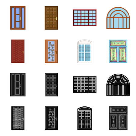 Vector illustration of door and front symbol. Collection of door and wooden vector icon for stock.