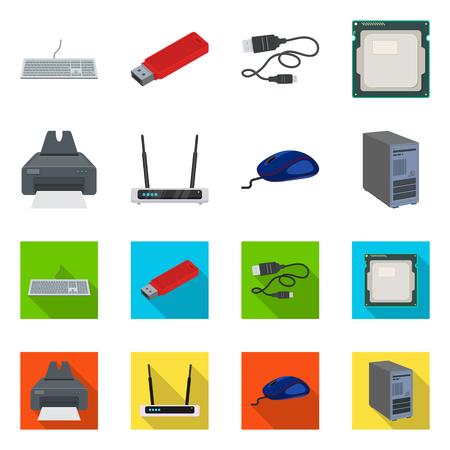 Illustration vectorielle de l'icône de l'ordinateur portable et de l'appareil. Ensemble de symbole boursier pour ordinateur portable et serveur pour le web.