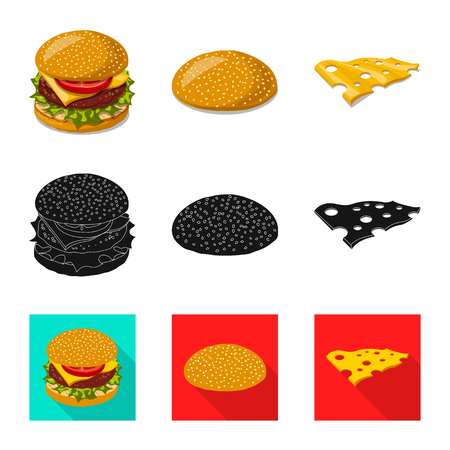 Vector illustration of burger and sandwich sign. Collection of burger and slice vector icon for stock.