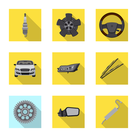 Isolated object of auto and part symbol. Set of auto and car vector icon for stock. Illustration