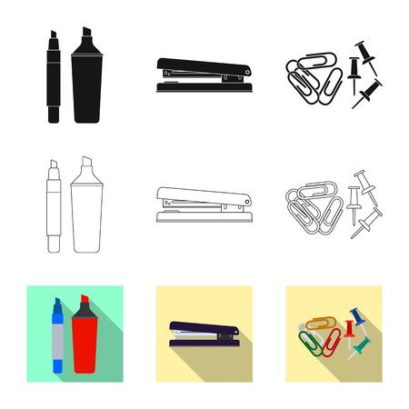 Objeto aislado del logo de oficina y suministros. Colección de símbolo de stock de oficina y escuela para web. Logos