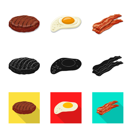 Vector design of burger and sandwich sign. Collection of burger and slice stock vector illustration.
