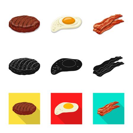 Vector ontwerp van hamburger en sandwich teken. Collectie van hamburger en plak vector pictogram voor voorraad.