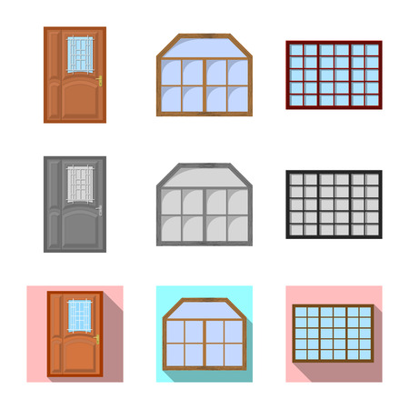 Isolated object of door and front logo. Collection of door and wooden vector icon for stock.