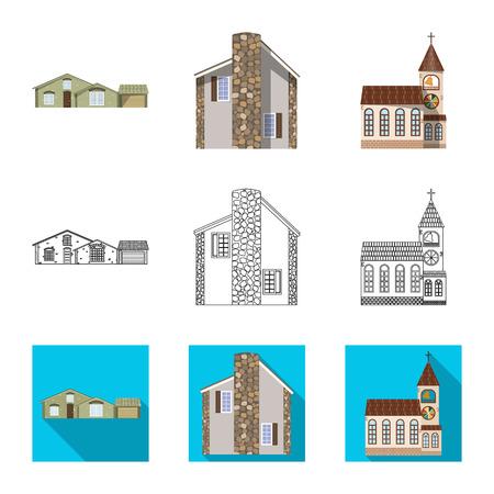Diseño vectorial de edificio e icono frontal. Conjunto de ilustración de vector stock edificio y techo. Ilustración de vector
