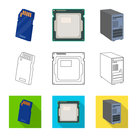 Vector design of laptop and device icon. Set of laptop and server stock vector illustration.