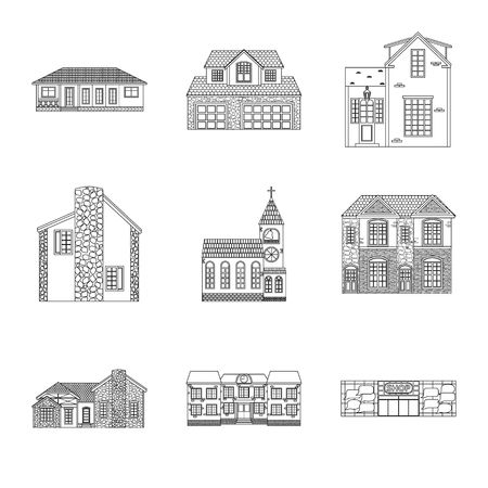 Vector illustration of building and front symbol. Set of building and roof stock vector illustration.