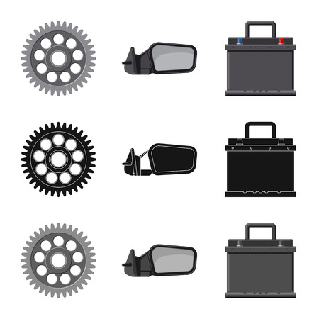 Vector design of auto and part icon. Collection of auto and car stock vector illustration. Standard-Bild - 108716538