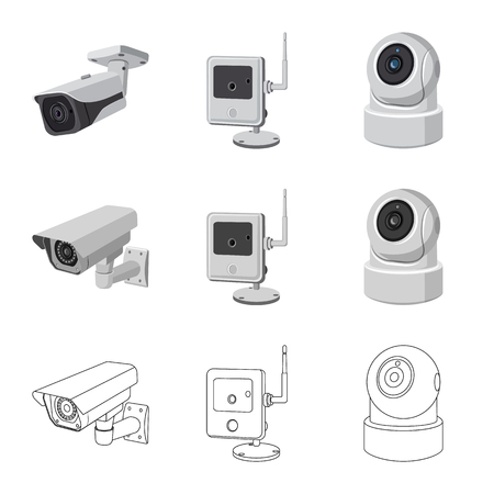Isolated object of cctv and camera icon. Collection of cctv and system stock symbol for web. Vector Illustration