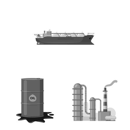 Isolated object of oil and gas sign. Set of oil and petrol vector icon for stock.