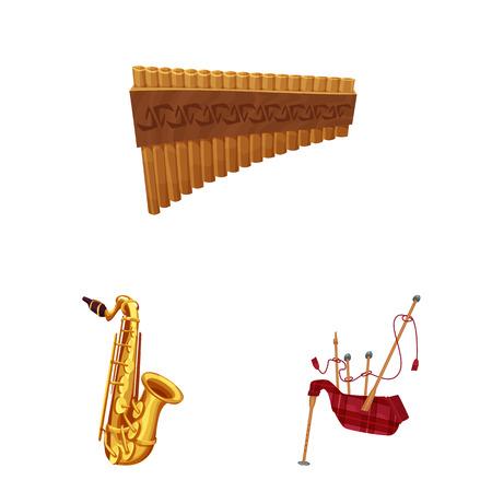 Isoliertes Musikobjekt und Musiksymbol. Satz Musik und Werkzeugvorratssymbol für Web. Vektorgrafik