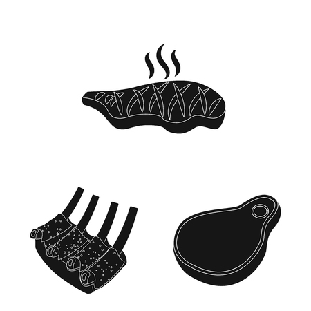 Vector illustration of meat and ham symbol. Set of meat and cooking stock symbol for web.