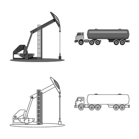 Isolated object of oil and gas symbol. Collection of oil and petrol vector icon for stock.