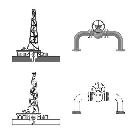 Vector design of oil and gas icon. Collection of oil and petrol stock symbol for web.