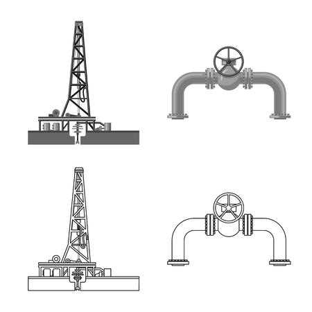 石油とガスのアイコンのベクトル設計。ウェブ用オイルとガソリンのシンボルのコレクション。
