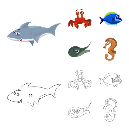 Isolated object of sea and animal icon. Collection of sea and marine stock vector illustration. Illustration