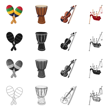 Vector illustration of music and tune symbol. Set of music and tool vector icon for stock. Banque d'images - 109512320