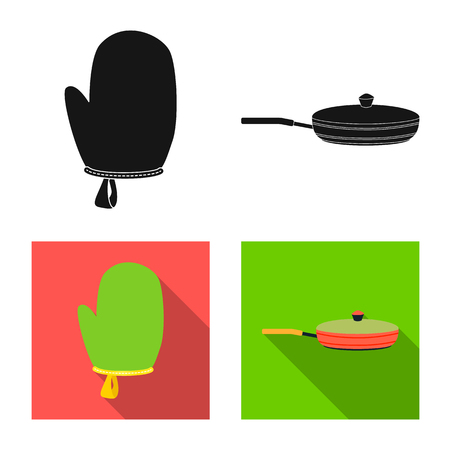 Vector design of kitchen and cook symbol. Set of kitchen and appliance stock symbol for web.