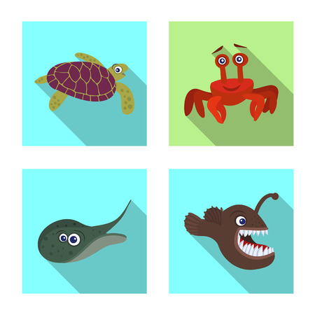 Isolated object of sea and animal sign. Set of sea and marine stock vector illustration. Illustration