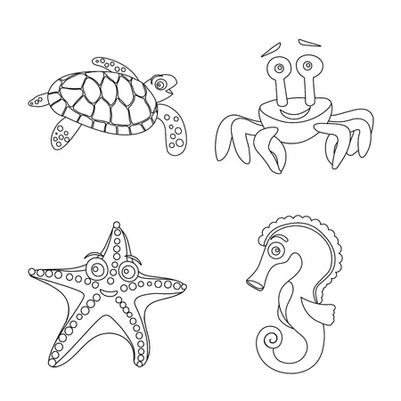 Vector illustration of sea and animal symbol. Collection of sea and marine vector icon for stock.