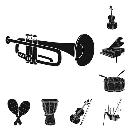 Vector design of music and tune logo. Set of music and tool stock symbol for web. Ilustrace