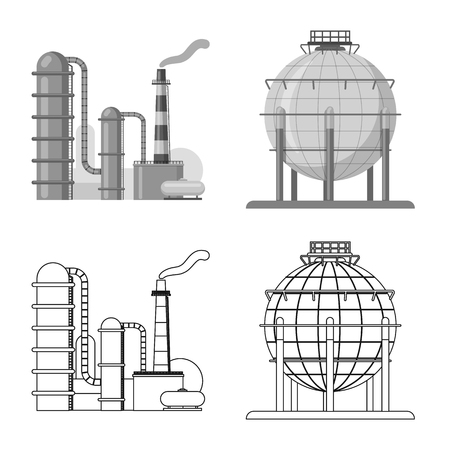 Isolated object of oil and gas logo. Set of oil and petrol stock vector illustration.