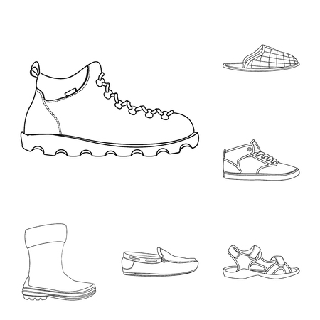 Vector illustration of man and foot symbol. Collection of man and wear stock symbol for web.