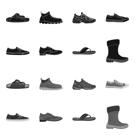 Vector illustration of man and foot symbol. Collection of man and wear stock vector illustration. Vector Illustration