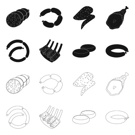 Vector illustration of meat and ham icon. Collection of meat and cooking stock symbol for web.