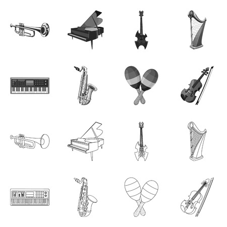 Vector design of music and tune logo. Set of music and tool stock symbol for web. Vettoriali