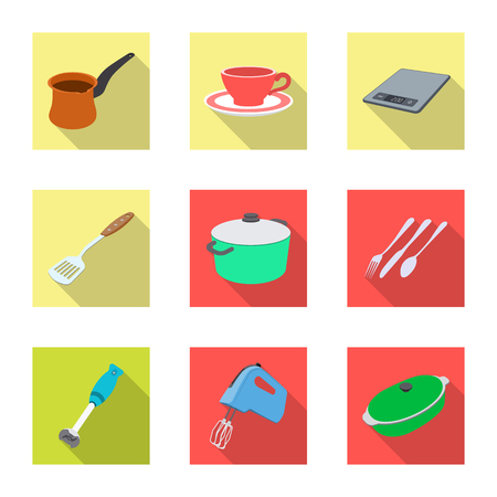 Vector illustration of kitchen and cook symbol. Set of kitchen and appliance stock vector illustration.