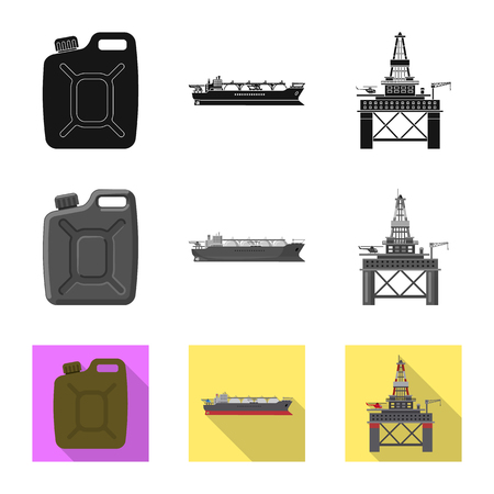 Vector design of oil and gas symbol. Set of oil and petrol vector icon for stock.