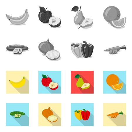 Vector illustration of vegetable and fruit sign. Set of vegetable and vegetarian stock vector illustration. Vetores