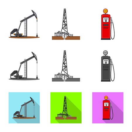 Vector design of oil and gas icon. Set of oil and petrol stock symbol for web.