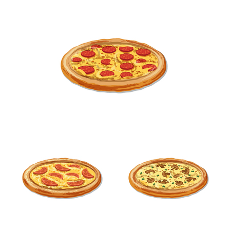 Vector design of pizza and food sign. Set of pizza and italy stock symbol for web.