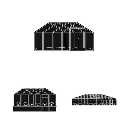 Vector design of greenhouse and plant sign. Collection of greenhouse and garden stock symbol for web.