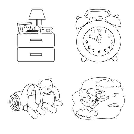 Vector illustration of dreams and night sign. Collection of dreams and bedroom stock symbol for web. Vettoriali