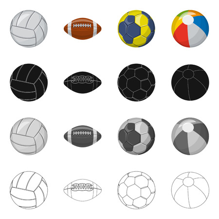 Isolated object of sport and ball sign. Collection of sport and athletic stock symbol for web. Vettoriali