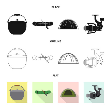 Isolated object of fish and fishing icon. Set of fish and equipment vector icon for stock. 矢量图像