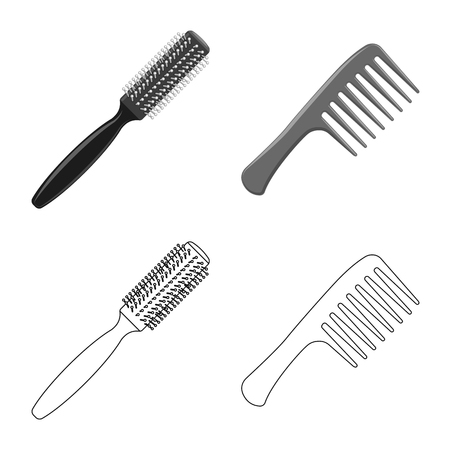 Isolated object of brush and hair icon. Set of brush and hairbrush vector icon for stock.